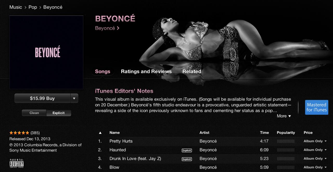 'Beyoncé' en iTunes